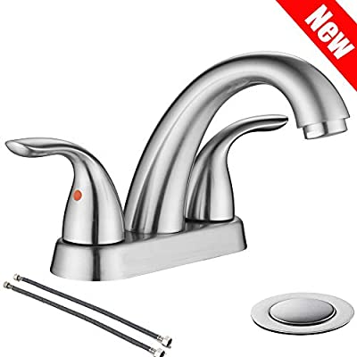 Brushed Nickel 2 Handle Stainless Steel Bathroom Sink Faucet By Phiestina, Bathroom Faucet With Copper Pop Up Drain And Water Supply Lines, BF008-5-BN