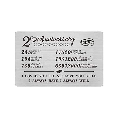 2 Year Anniversary Steel Gifts Wallet Card for Men Him Boyfriend, Second 2nd Yr Wedding Anniversary Keepsake Gift for Husband Wife Her