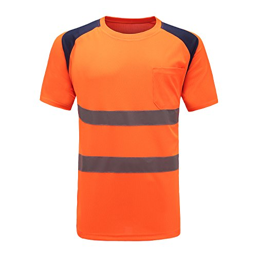 Profi Warnschutz T-Shirt Kurzarm Arbeitsshirt Kurzarmshirt Warnshirt Arbeitshemd Warnschutz t Shirt Herren (Orange, 3XL-4XL)