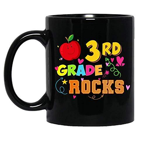 Rocas de tercer grado Regreso a la escuela Maestro Estudiante Niños Taza de cerámica divertida Tazas de café gráficas Tazas negras Tapas de té Novedad personalizada 11 oz