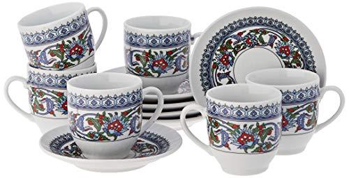 The Turkish Emporium 12tlg. Orientalisches Mokkatassen Set Espressotasse Untersetzer Mokkaservice Topkapi Design