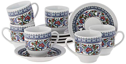 The Turkish Emporium 12-delige Oosterse mokkatassen set espressokopje onderzetter mokkaservice Topkapi Design