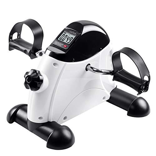 Mini cyclette, cyclette per pedali sotto la bici da scrivania con monitor LCD resistenza per braccia e gambe, pedaliera per peddler per anziani in ufficio / casa, tappetino antiscivolo incluso