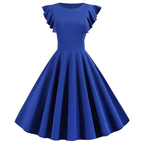 Shinehua Audrey Hepburn vintage jurk voor dames, jaren 50 XX-Large blauw