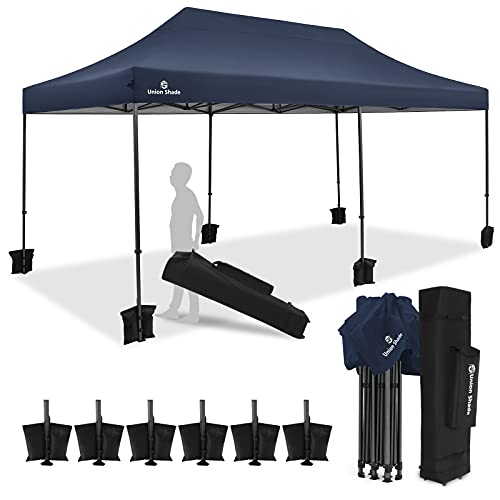 Union Shade 20'x10' Pop Up Instant Shelter Shade Heavy Duty Commercial Canopy, Outdoor Party Tent, Gazebo with 3-Level Adjustable Heights, Wheeled Storage Bag, Bonus 6 Sand Weights Bags (Blue)