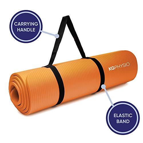 KG Physio Yoga Mat - Tapis Yoga Antidérapant avec Sangle de Tapis de Yoga Incluse - 183 cm x 60 cm x 10 mm Tapis de Sport Fitness a la Maison Extra Épais.