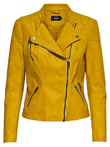 Only Onlava Faux Leather Biker Otw Noos Chaqueta, Amarillo (Golden Yellow Golden Yellow), Medium (Talla del fabricante: 38) para Mujer