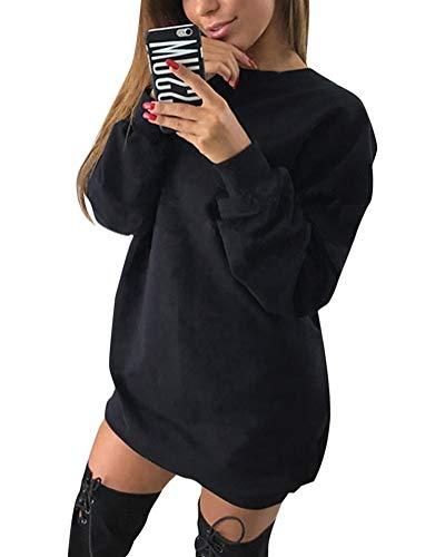 Minetom Damen Langarm Sweatshirt Herbst Winter Lange Pullover Einfarbig Pulli Sexy Oversize Tunika Mini Kleid Casual Lose Rundhals Tops Schwarz DE 34