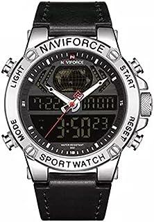 NaviForce Men's Casual Watch Analog-Digital Leather NF9164-2 Black Silver