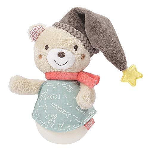 FEHN 060539 Mini-Stehauf Bär / Lustiges Motorikspielzeug zum Greifen, Tasten, Fühlen und Stupsen – Für Babys und Kleinkinder ab 0+ Monaten
