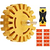 FONSWEA 12Pcs Eraser Wheel Decal Remover, 4 inch Adhesive Sticker and Vinyl Remover with Plastic Razor Blades and Drill Adapter, Rubber Wheel Removal Tool for Cars, Boats, Rvs
