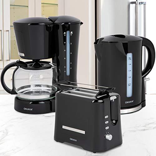 ONVAYA® Frühstücksset 3-teilig | Kaffeemaschine Toaster Wasserkocher Set | Frühstücksserie 3 in 1 | Schwarz | Filterkaffeemaschine für 12 Tassen | Toaster für 2 Scheiben | Wasserkocher 1,7 Liter