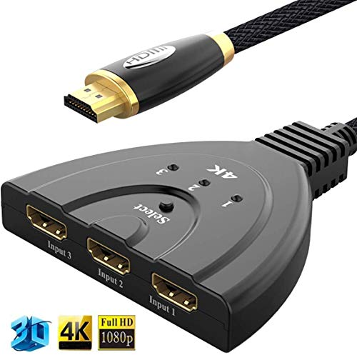 HDMI切替器 HDMI分配器 VSTYLE hdmi 分配器 4Kx2K対応 hdmiスイッチ 1080p/3D対応(メス→オス) 3入力1出力 電源不要 HDMI分配器/セレクター Fire TV Stick/Xbox One ゲーム機 液晶テレビ対応