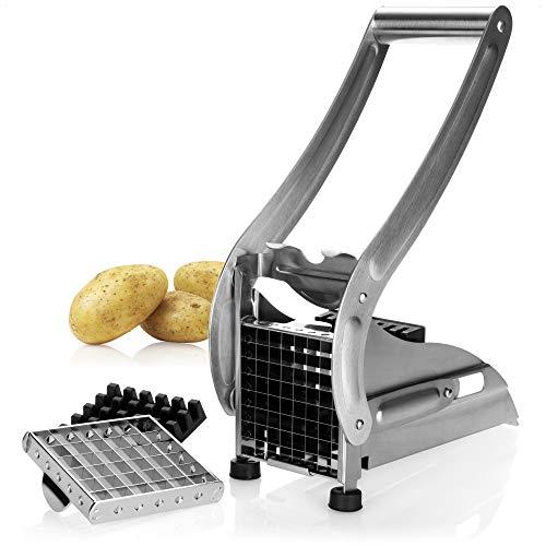 com-four® Cortador de Patatas Fritas de Acero Inoxidable, Apto para lavavajillas con 2 Insertos de Corte - Prensa de Patatas Fritas (1 Pieza - Color Plateado)