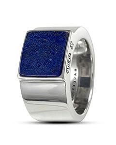 Baldessarini Herren-Ring 925 Silber rhodiniert schwarz lackiert Lapis Lazuli blau 60 (19.1) - Y2121R/90/E4/60