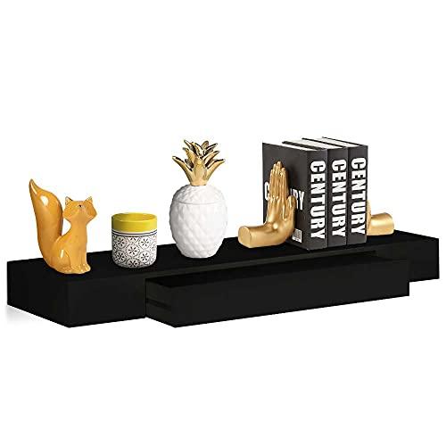 BAKAJI Mensola con Cassetto Sospeso a Scomparsa da Parete Muro Scaffale in Legno MDF Design Moderno Scandinavo Dimensione 80 x 25 x 8 cm Decorazione Arredo Casa (Nero)