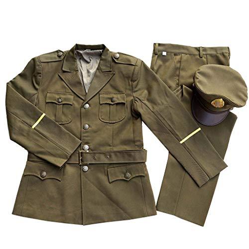 JXS Uniforme Oficial de la Escuela Retro, la Segunda Guerra Mundial EE.UU. Oficial Militar Uniforme del Combate Chaqueta y Pantalones Traje,XL