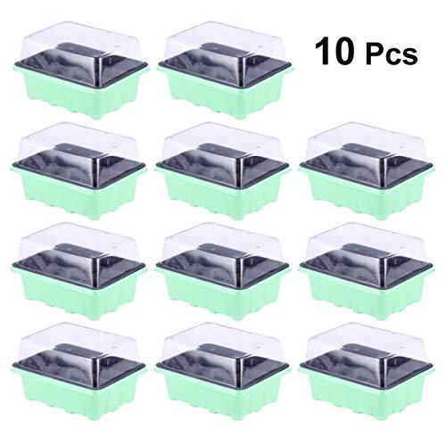 OUNONA 10 Pezzi Vassoi per la germinazione Kit per la germinazione 12 Celle per Il Giardinaggio Piantina dei Semi del Bonsai Che coltiva Il Kit di germinazione 18x14x6cm (Verde)