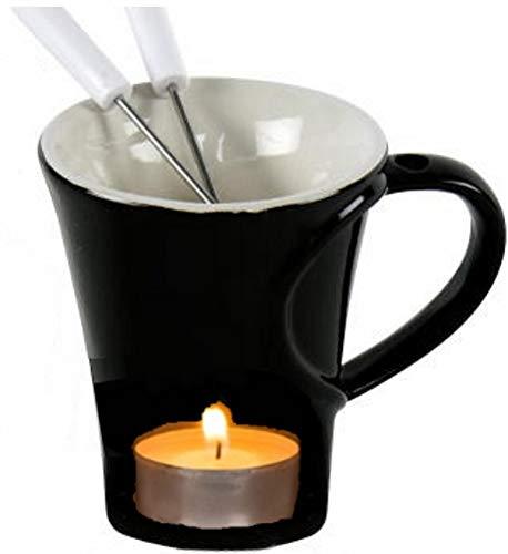 marion10020 Schokoladenfondue-Set Schoko-Fondue Schokofondue Tasse, für 2 Personen, ca. 10 x 12,5 cm, aus Keramik, mit 2 Fondue-Gabeln, schwarz