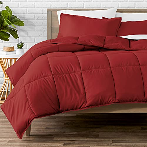 Bare Home Comforter Set - Queen Size - Goose Down Alternative - Ultra-Soft - Premium 1800 Series - All Season Warmth (Queen, Red)