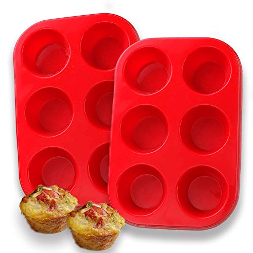 Silicone Muffin Pan, European LFGB Silicone Cupcake Baking Pan, 6 Cup Muffin, Non-Stick Muffin Tray, LFGB Approved Egg Muffin Pan, Food Grade Molds, Set of 2