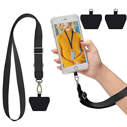 SS Phone Lanyard, Cell Phone Lanyard Key Chain Holder Adjustable Nylon Phone Wrist Strap Compatible with iPhone Samsung Any Smartphones-Black Kansas