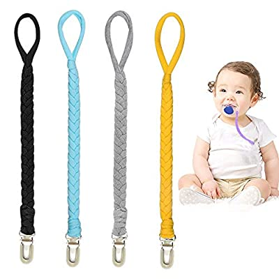 Handmade Baby Braided Pacifier Clip - Universal Cotton Flexible Pacifier Leash Holder Fits All Pacifier Styles (Navy Blue/Gray/Light Blue/Yellow)