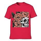 Camiseta de algodón para hombre, diseño de cráneo, flores Red1 S