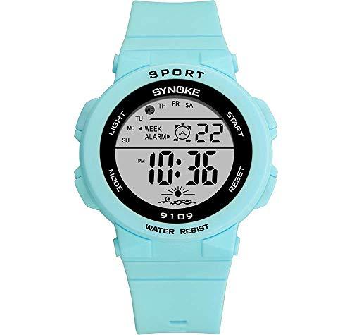 MNBVC Reloj Digital para niñas, multifunción, Elegante, Colorido, Luminoso, con Alarma LED, cronógrafo, Reloj de Pulsera electrónico, 50 m, Resistente al Agua para niños, Regalo