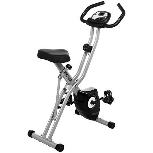 Bicicleta ejercicio plegable hogar Equipo entrenamiento Resistencia magnética 10 niveles Bicicleta X Bicicleta ciclismo estacionaria Con nivel resistencia ajustable y monitor LCD-Plata 68x47.5x117cm