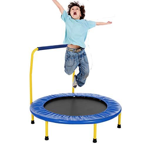 Eloklem Cama elástica Fitness en Interiores, Sports Trampolín Fitness Plegable con Apoyabrazos Ajustables Trampolín para Niños Adultos Gimnasio (Ø 92cm, Azul Zafiro)