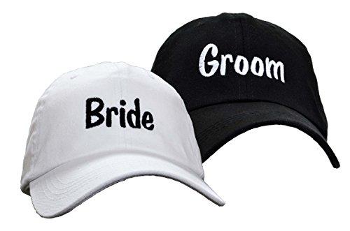 Bride Groom Embroidered Wedding Caps Hat Set
