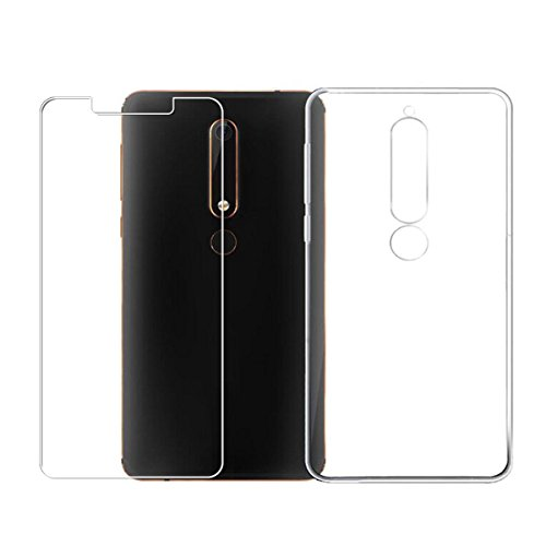 LJSM Hülle für Nokia 6 2018 / Nokia 6.1 Transparent + Panzerglas Displayschutzfolie Transparent Weich Silikon Schutzhülle Handytasche Bumper Flexibel TPU Tasche Schale Case Cover Handyhülle