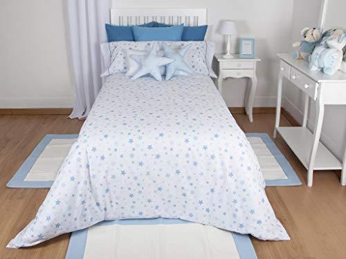 MI CASA Mi Funda Nórdica Estrellas, Azul Cama 90, 150 x 220 cm