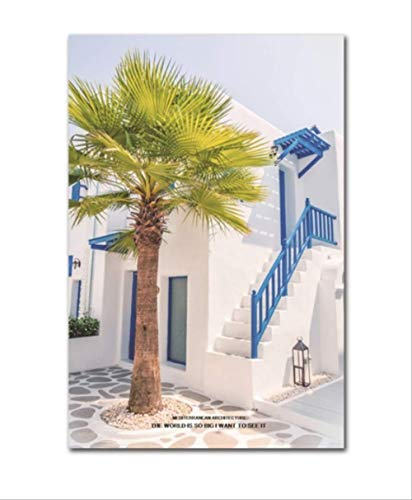 Poster Und Drucke Mediterrane Architektur Landschaft Leinwand Malerei Wohnzimmer Dekoration Wandbilder 50 * 70 cm Kein Rahmen
