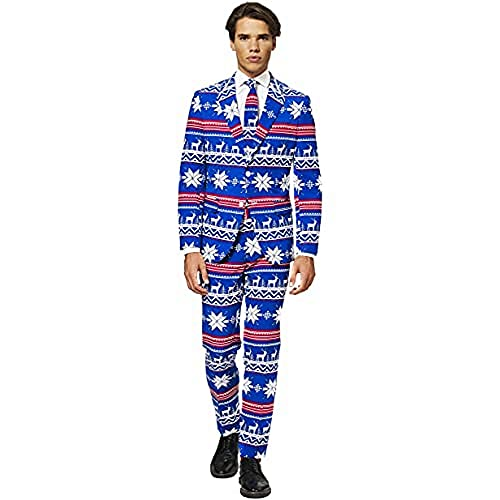 OppoSuits Fun Ugly Christmas for Men – The Rudolph – Full Suit: Jacket, Pants & Tie Costume pour Homme, 42