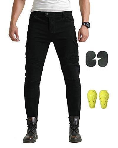 GELing Pantalones vaqueros para motorista CE protección,Negro,L