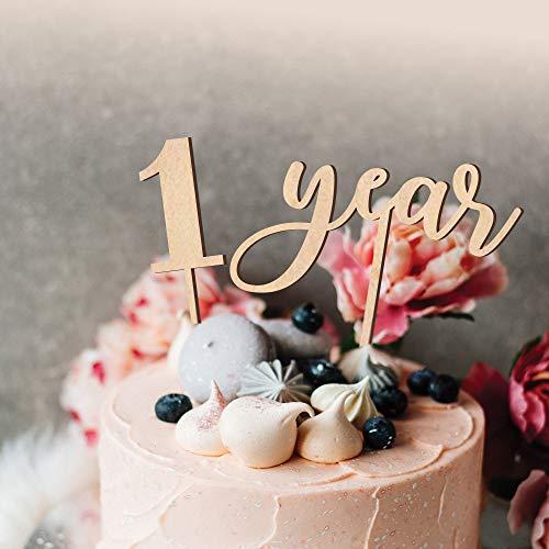 Een taart Topper Jongen Meisje 1 Jaar Verjaardag Baby Smash Cake Topper Eerste Verjaardag Decor 1e Verjaardag Cake Hout Cake Topper