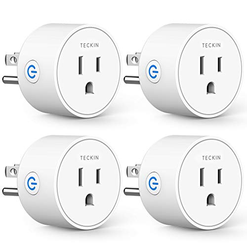Smart Plug Compatible with Alexa Google Assistant IFTTT for Voice Control, Teckin Mini Smart Outlet Wifi Socket with Timer Function, No Hub Required, White FCC ETL Certified