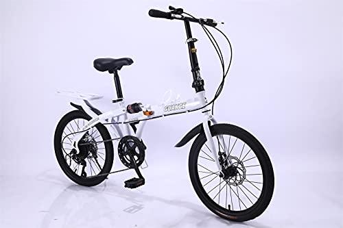 Bicicleta plegable 20/16 pulgadas, una silla de montar ligera y cómoda, adecuada para hombres adultos, mujeres, adolescentes, compradores, frenos de disco (amortiguadores duales),Blanco,16 inches