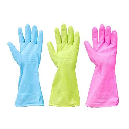 3 Paar wasserdichte Küchenreinigung Gummihandschuhe zum Geschirrspülen Wäschereinigung (mittlere Größe, helle Fingerfarben)