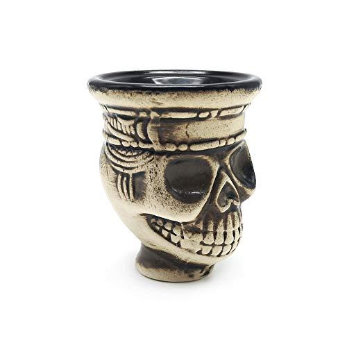 F-denghui, Accesorios de Cuenco de Tabaco Narguile Shisha Narguile de cerámica con Calavera, sin Tabaco y sin nicotina (Color : Browm)