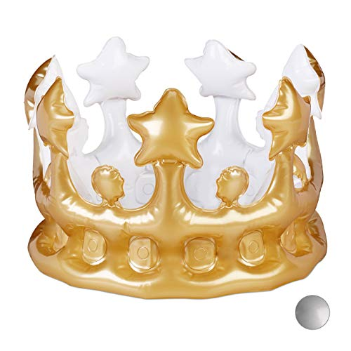 Relaxdays Corona Gonfiabile, Accessori Costume di Carnevale, Feste di Compleanno, Re e Regina, Principessa, Dorata, HXD: 16x21 cm
