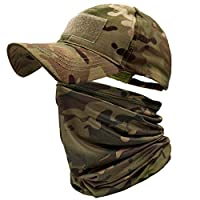 Camo hat and neck gaiter suit: You will get 1 camouflage tactical hat and 1 UV neck gaiter. Unique camouflage pattern makes you look cool. You can wear it in a whole set at the same time or wear it separately as you wish. Super elastic and breathable...
