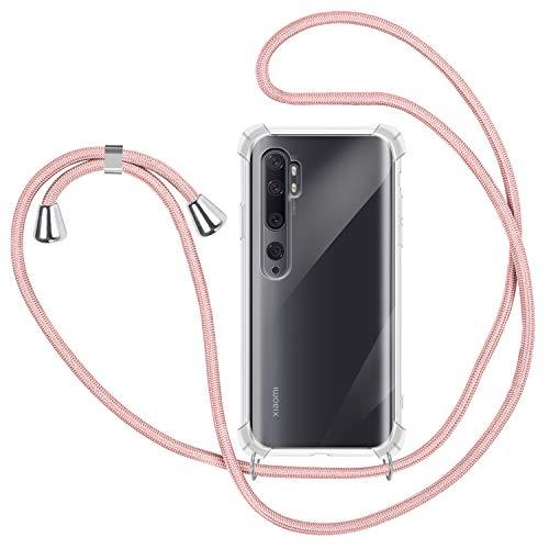 Funda con Cuerda para Xiaomi Mi Note 10/ Note 10 Pro, Carcasa Transparente TPU Suave Silicona Case con Correa Colgante Ajustable Collar Correa de Cuello Cadena Cordón - Oro Rosa
