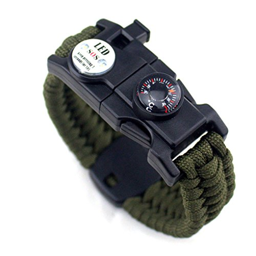 Vkospy Uomini Donne Intrecciato Survive Luce Braccialetto LED Paracord Wristband Camping Rescue Kit Corda ad Ingranaggi con Bussola del fischio d'avviamento di Fuoco
