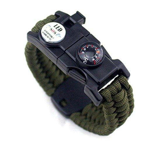 Uzinb Männer Frauen Geflochtene überleben Armband LED-Licht Paracord Armband Camping Rettungsseil Zahnradsatz mit Pfeife-Kompass-Feuer-Starter