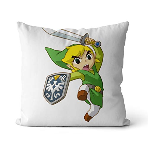 Cojín de sofá con impresión digital de Zelda, juego de aventura, rollo de sofá, decoración principal, cojín de sofá, cama principal, 55 x 55 cm