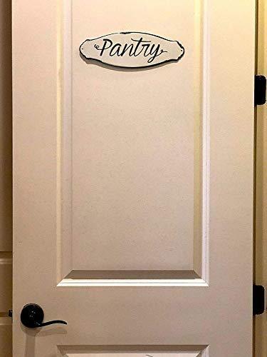 Pantry Wall Door Sign Kitchen Storage Designation Metal Rustic White Black Farmhouse Rustic Vintage Plaque 12