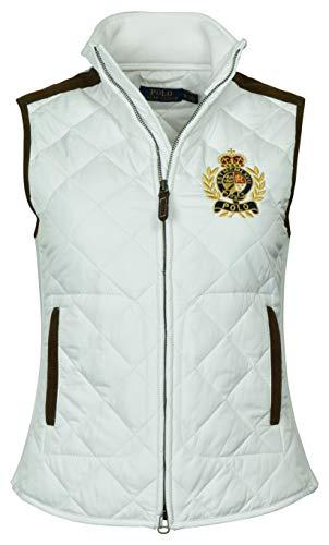 Polo Ralph Lauren Damen-Weste mit Lederbesatz, gestepptes Wappen -  Weiß -  X-Klein